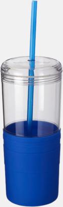Blå 65 cl-glas med sugrör - med reklamtryck