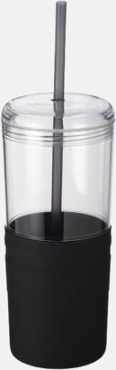 Svart 65 cl-glas med sugrör - med reklamtryck