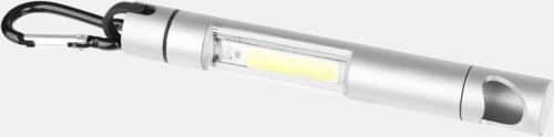 Silver Små ficklampor med kapsylöppnare - med reklamtryck