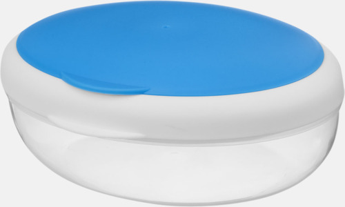 Blå Matlåda som passar sallader - med reklamtryck