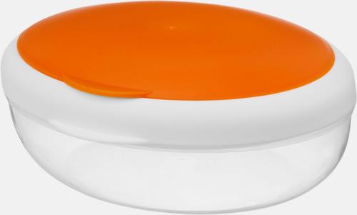Orange Matlåda som passar sallader - med reklamtryck