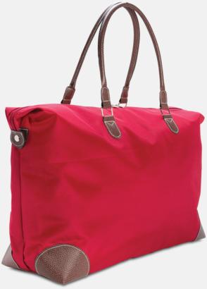Röd Weekend-väskor med PU-detaljer med reklamtryck