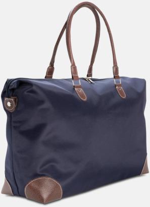 Marinblå Weekend-väskor med PU-detaljer med reklamtryck