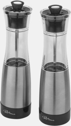 Silver / Svart Exklusiva salt- & pepparset med reklamtryck