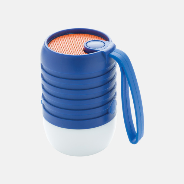 Blå Utehögtalare med färgskiftande lampa med reklamtryck