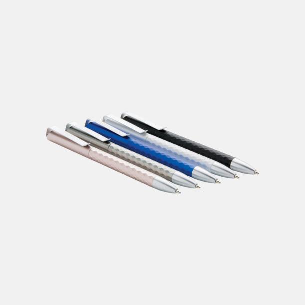 Diamantmönstrade plastpennor med metalldetaljer - med reklamtryck