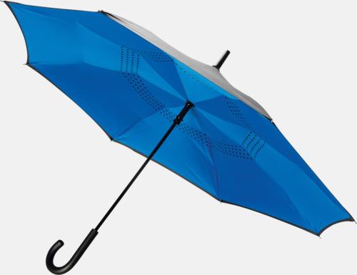 Blå In och ut-vändbara paraplyer med reklamtryck