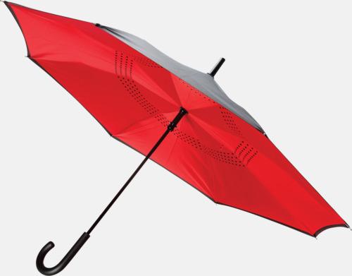 Röd In och ut-vändbara paraplyer med reklamtryck