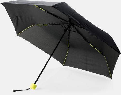 """Limegrön 21"""" stormparaplyer med färgdetaljer - med reklamtryck"""