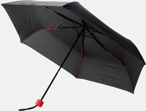 """Röd 21"""" stormparaplyer med färgdetaljer - med reklamtryck"""