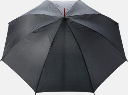 """Röd 23"""" stormparaplyer med färgdetaljer - med reklamtryck"""