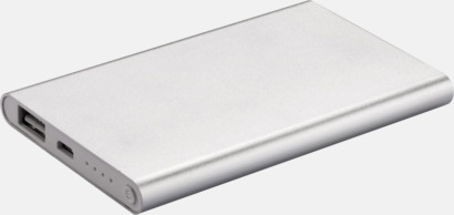 Silver / Vit Tunna powerbanks med reklamtryck