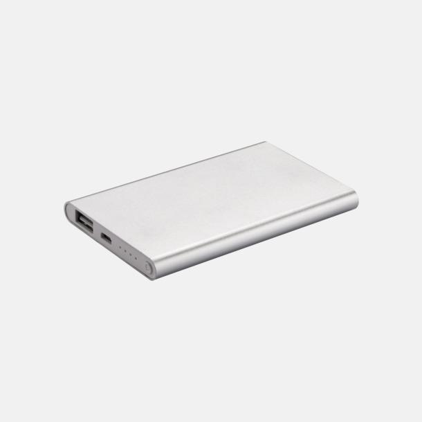 Silver/vit Tunna powerbanks med reklamtryck