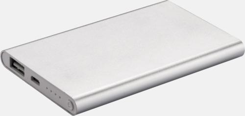 Silver / Vit Tunna powerbanks med reklamtryck