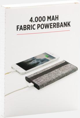 Presentförpackning Powerbanks i linnetyg med reklamtryck