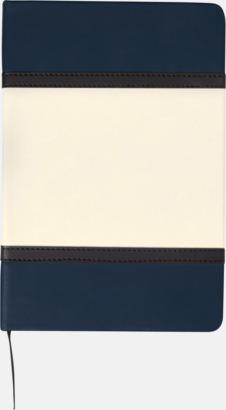 Marinblå Anteckningsböcker i A5 med konstläder omslag med reklamtryck