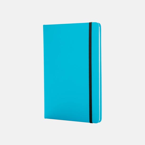 Blå A5 anteckningsböcker i konstläder med reklamtryck