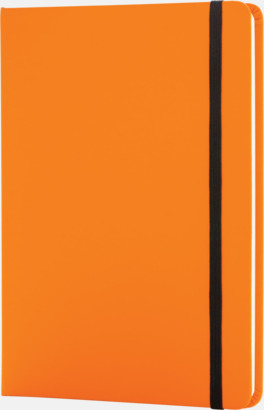 Orange A5 anteckningsböcker i konstläder med reklamtryck