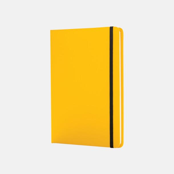 Gul A5 anteckningsböcker i konstläder med reklamtryck