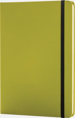 Grön A5 anteckningsböcker i konstläder med reklamtryck