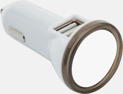 Vit / Grå Dubbel billaddare med LED-ljus - med reklamtryck