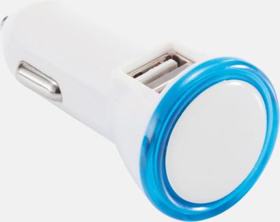 Vit / Blå Dubbel billaddare med LED-ljus - med reklamtryck