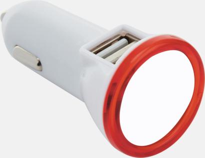 Vit / Röd Dubbel billaddare med LED-ljus - med reklamtryck