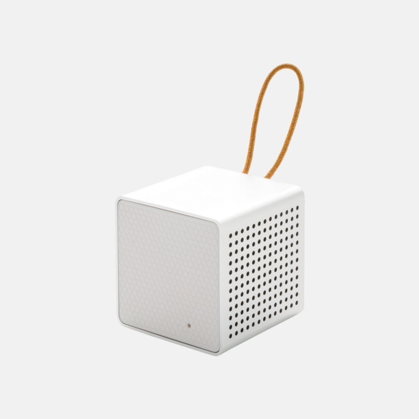 Vit/grå Kubformade högtalare med reklamtryck