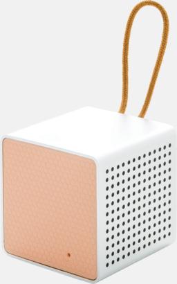 Rosa Kubformade högtalare med reklamtryck