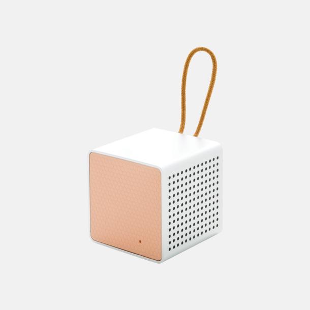 Rosa/grå Kubformade högtalare med reklamtryck