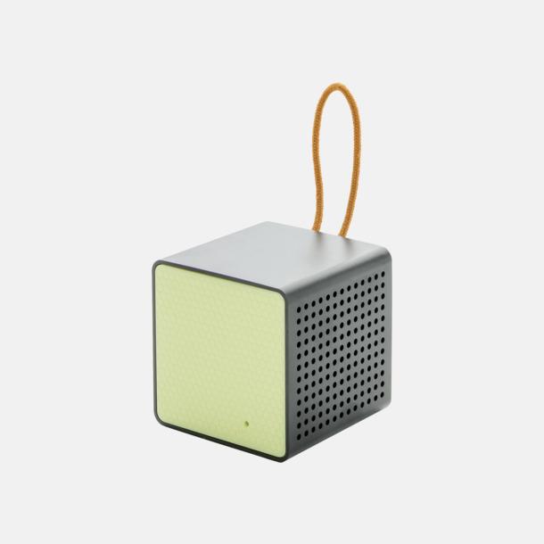 Grön/svart Kubformade högtalare med reklamtryck