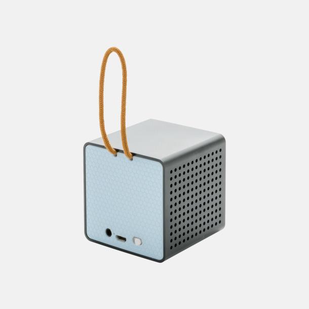 Blå (baksida) Kubformade högtalare med reklamtryck