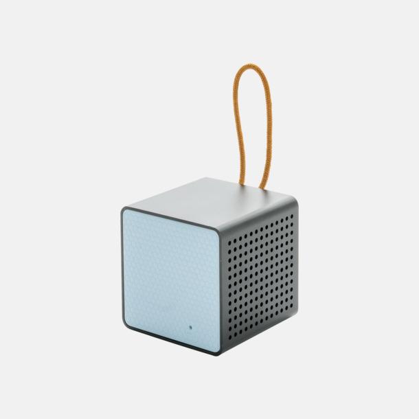 Blå/svart Kubformade högtalare med reklamtryck