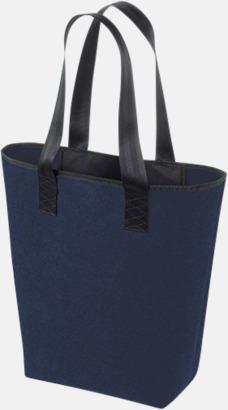 Navy/Svart Handväskor av filt med reklambrodyr