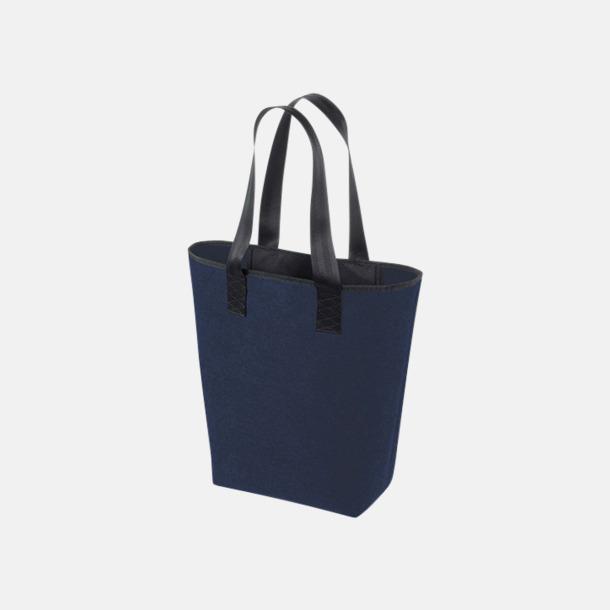Marinblå/Svart Handväskor av filt med reklambrodyr