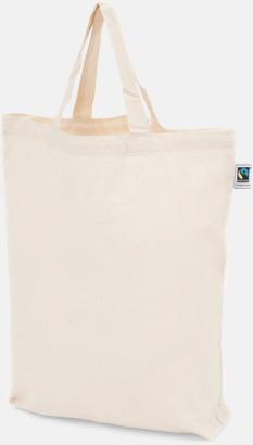 Korta handtag Natur Färgglada kassar som är ekologiska och Fairtrade-certifierade - med reklamtryck