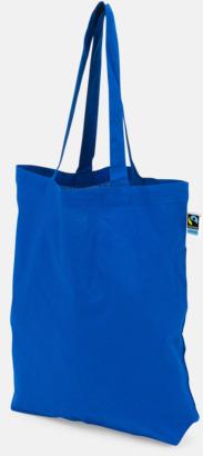 Långa handtag Blå Färgglada kassar som är ekologiska och Fairtrade-certifierade - med reklamtryck