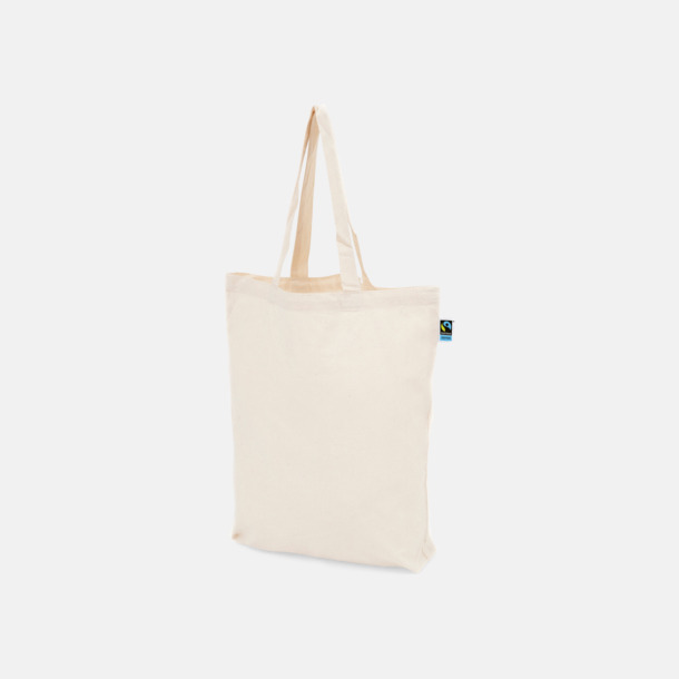 Långa handtag natur Färgglada kassar som är ekologiska och Fairtrade-certifierade - med reklamtryck