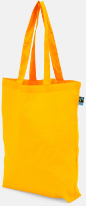 Långa handtag Orange Färgglada kassar som är ekologiska och Fairtrade-certifierade - med reklamtryck