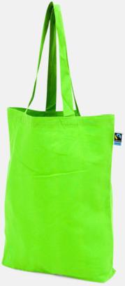 Långa handtag Grön Färgglada kassar som är ekologiska och Fairtrade-certifierade - med reklamtryck