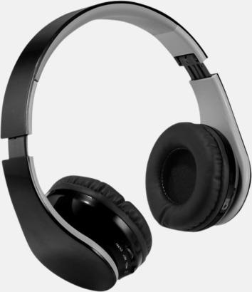 Svart Over ear-stereohörlurar med reklamtryck