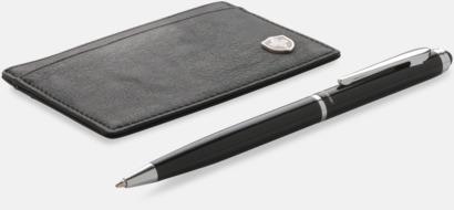 Svart RFID-antiskimming korthållare i set med en penna från Swiss Peak med reklamtryck