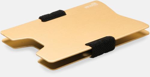 Guld Korthållare i aluminium med RFID-skydd med reklamtryck