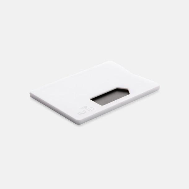 Vit Korthållare i plast med RFID-skydd med reklamtryck