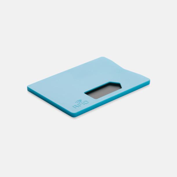 Blå Korthållare i plast med RFID-skydd med reklamtryck