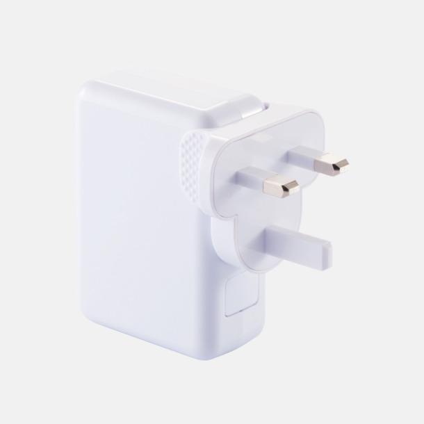 Vit Reseadapter med fyra USB-portar med reklamtryck