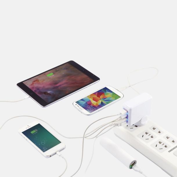 Reseadapter med fyra USB-portar med reklamtryck