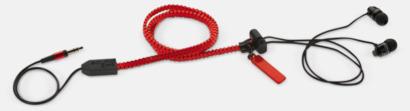 Röd In-ear hörlurar med blixtlås med reklamtryck