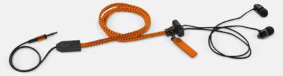 Orange In-ear hörlurar med blixtlås med reklamtryck