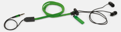 Grön In-ear hörlurar med blixtlås med reklamtryck